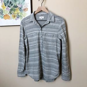 Lou & Grey Plaid Pullover Shirt Button Fro…